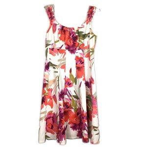 3/$25 Dressbarn Floral Red White Dress Sz 8 x/a